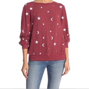 Wildfox Essential Moon and Stars Maroon Pullover